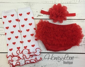 Red and White heart Valentine's Day leg warmers, red flower headband bow ruffle bottom bloomers diaper cover infant baby toddler little girl