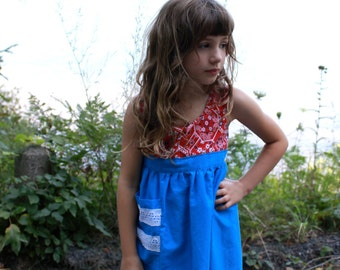 HANDMADE Dress 60s VINTAGE Textiles Size 4T Girls Toddler Upcycled Vintage Apron Dress Long Country Style with Red Bandana Print Top