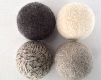 Wool Dryer Balls, Set of 4, 100% Wool, Eco Friendly, Ready to Ship, Healthy Home, Green Gift, Dryer Balls, Laundry