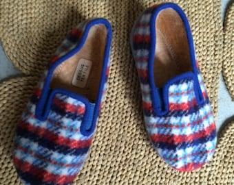 Adorable Scottish d'antioche slippers wool size fr 24 nine 70's vintage 1970 child kids