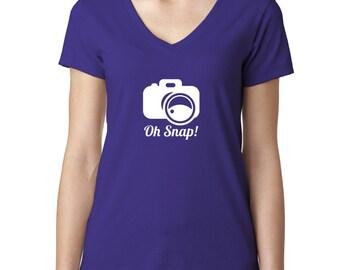 Oh Snap Addicted to Snapchat Ladies V-Neck Tshirt