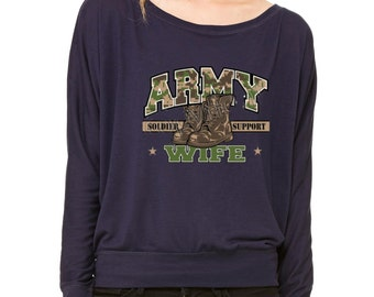 Army Wife Support Our Troops Long-Sleeve 4th of July Proud Flowy Shirt