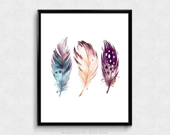 SALE -  Three Feathers, Set Of Feathers, Tribal Native Aztec Indian Art Poster Print, Handpainted Illustration, Watercolor Poster
