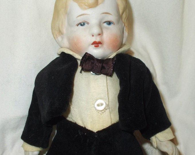 """7"""" Antique German Groom All Bisque Jointed Miniature Dollhouse Boy Doll Blonde Molded Hair In Original Handmade Tuxedo Clothes"""