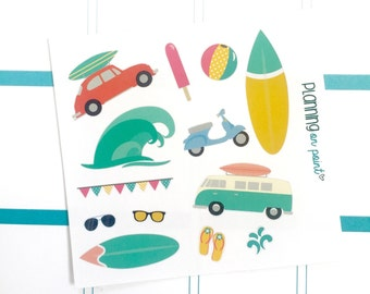 Surf and Beach Day Planner Stickers (fits Erin Condren)