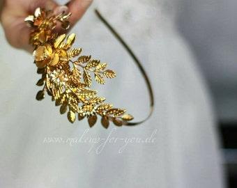 Golden leaf bridal  headpiece,  vintage inspired golden headband, bridal headpiece, bridal wreath, Braut Haarreif,  one of a kind
