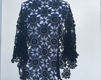 BRIDAL BLACK dantella SHAWL,Bridal Bolero,Wedding Bolero,Motif Style Shawl,Shrug,Crochet Tread Shawl, Wedding Cover Ups,Unique Style,
