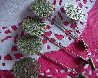 10 pcs Filigree Antique Bronze Flower Brooch Back Pin -  DIY  7.5x2.5cm Filigree Flower:25mm 10pcs. Pin Backs