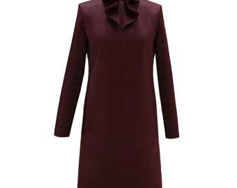 Maroon color ruffle collar imitate satin dress