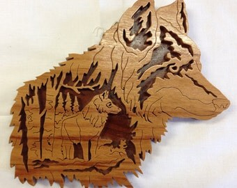 Nature's Majesty Wolf Plaque - Canarywood & Walnut