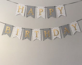 happy birthday banner |  black, white + gold foil bunting | stripes + dots birthday decor *instant download*