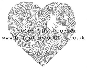 Wicker Heart Shabby Chic Colouring Download / Digital Stamp