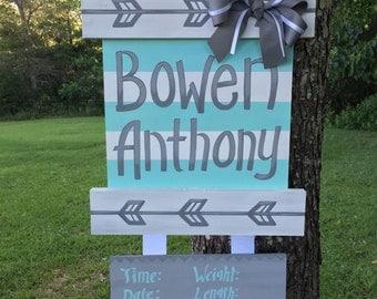Baby Boy Arrow Hospital Door Hanger