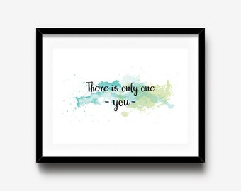 Watercolor Print, Typography Wall Art, Inspirational Quote Print, Home decor wall art, office decor, Nursery wall art