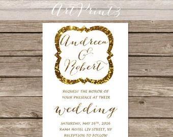 Modern Wedding Invitation Printable, Vintage Wedding Printable Invitation, Vintage Frame Wedding Invite, Gold Wedding Invitation Printable