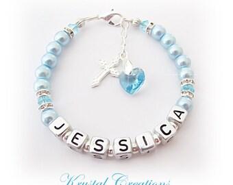 GIRLS/BOYS Personalized Name Bracelet Christening Baptism B'day GIFT ~ Aquamarine blue