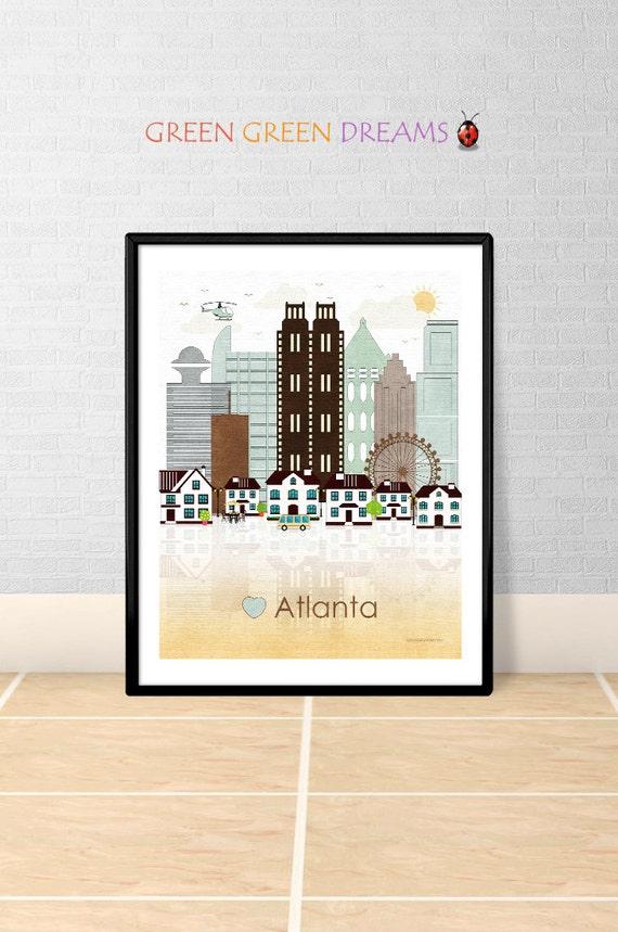 Snap Atlanta print Wall art Poster Atlanta poster by ... photos on ...