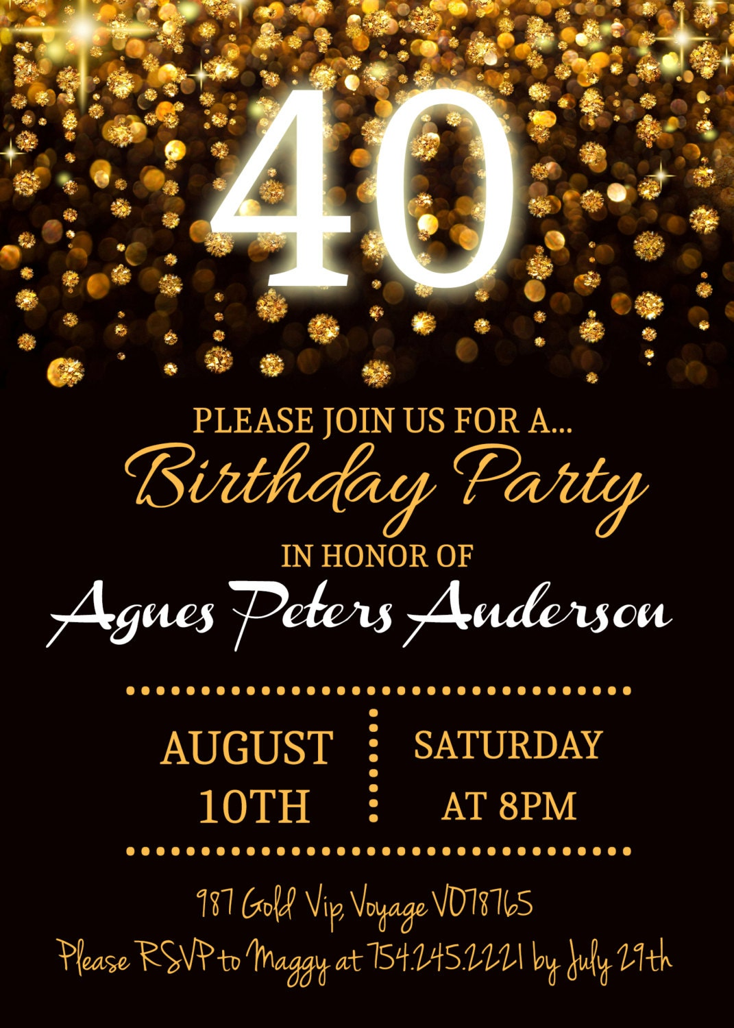 Elegant Golden Birthday Invitation 40 50 60 70 80 Chic – Golden Birthday Invitation