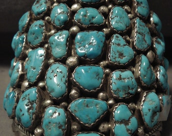 Whopping Vintage Navajo Towering Turquoise Nugget Silver Bracelet Old