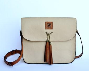 Genuine Beige Leather Handmade Crossbody Bag