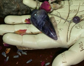 Amethyst Pendulum~Comes with Velvet Pendulum Pouch~Insight~Stone of Protection~Healing~Dowsing