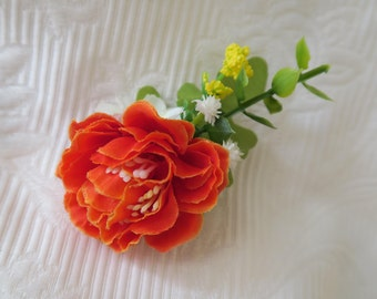 Flower hair pin, bridal headpiece, floral hair accessories, wedding hair accessories, Orange or amaranth to choose from.