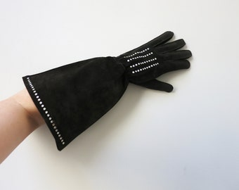 Original Saint Laurent Rive Gauche gauntlets with rhinestones L
