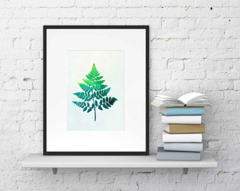leaf fern watercolor ,Wall Art ,Printable Art, Digital Prints, Digital Download , Watercolor Print , Fern Print