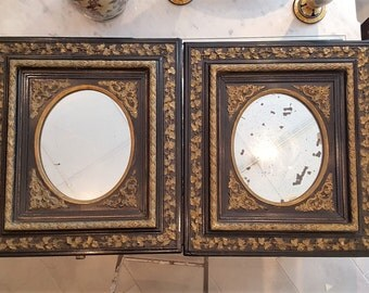 2 frames mirrors Napoleon III black and gold - 20564