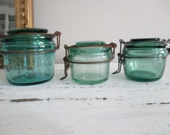 3 jars canning jars the ideal green glass old
