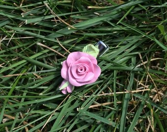 Barrette made of polymer clay, Pink rose, Pink, The best gift for her, Flower Barrette, Flowers