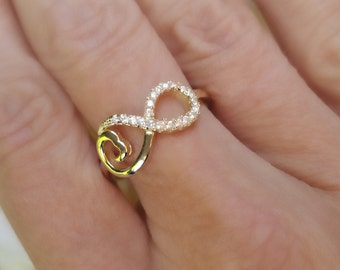 Gold Infinity Ring, 925 sterling silver, Promise Infinity Ring, Cubic Zirconia, Infinity Ring, CZ Ring, Love Ring, Size 8 Ring