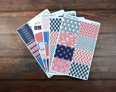 Coral and Navy Planner Sticker Kit, For use with Erin Condren Life Planner, Plum Paper Planner