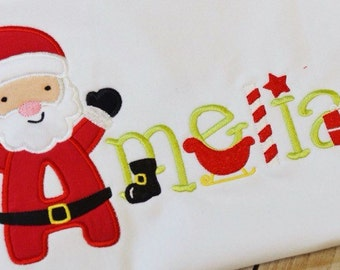 Christmas Santa Name Shirt - Kids Christmas Outfit -  Winter Holiday Embroidered Infant Toddler - Personalized Baby Gift - First Christmas