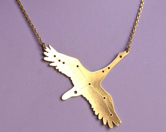 Cygnus constellation swan pendant necklace