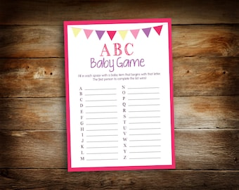 """Instant Download - Baby Shower ABC Game - Pink 'ABC Baby Game' Game Board- 5"""" x 7"""" Printable Digital File - GBF-002"""