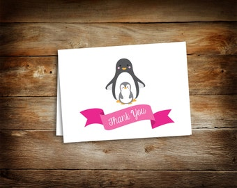 Baby Shower Thank You Card - Thank You Card - Penguin Thank You Cards - Penguin Baby Shower - Blank Thank You Card- 0002-G