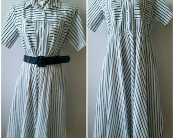 Vintage Carriage Court Striped Blue/White Dress