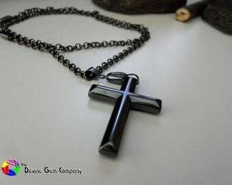 Cross Genuine Hematite with Gunmetal Ball Chain