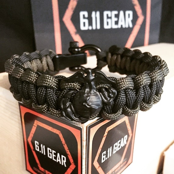 USMC EGA Black/OD Green Paracord Bracelet by 611Gear on Etsy  USMC EGA Black/...