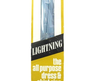 "Vintage 1960's Lightning Nylon Azuline Blue Zipper 4"" (10 cm) long Unused in Original Packaging, Made in Australia"