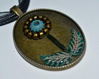 Gold and Blue Flower Plant Victorian Lady Pendant Necklace