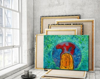 Abstract Painting Original Oil Painting on Canvas Green Blue