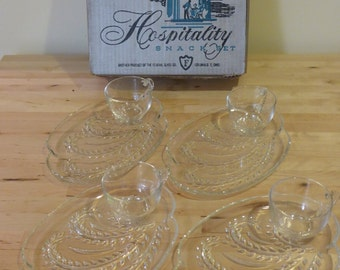 Vintage Hospitality Snack Set - Federal Glass Co. - Patio Snack Set - 8 pieces crystal glass - Mid-century