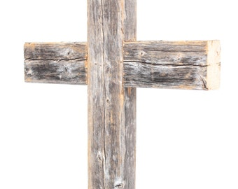 Barnwood USA Rustic Old Wooden Cross 12x16x2, Reclaimed Wood Hanging Wall Cross, (Additional Colors Available)
