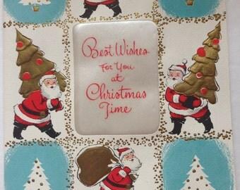 Vintage Christmas Card , Aqua and Red , Unused, NOS