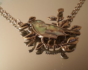 Vintage Bird on Branch Necklace Gold Plated