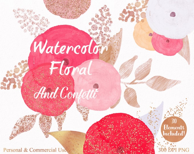 PINK WATERCOLOR FLORAL Clipart Commercial Use Clipart 30 Watercolor Flowers Rose Gold Confetti Watercolor Roses Floral Invitation Clip Art