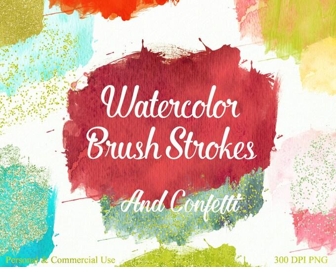 WATERCOLOR BRUSH STROKES Clipart Commercial Use Clipart 28 Watercolor Paint Splotch Silver Gold Confetti Watercolor Textures Logo Clip Art