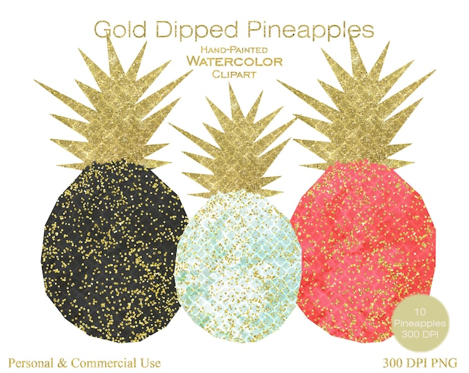 CONFETTI PINEAPPLES Clipart Commercial Use Clipart 10 Watercolor Pineapple Graphics Dipped with Gold Metallic & Confetti Pineapple Clip art